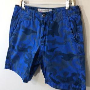 Blue camo flat front shorts